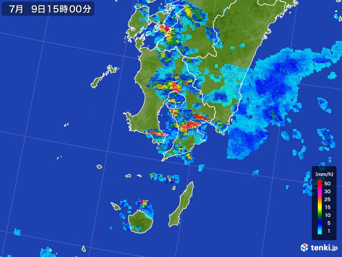 鹿児島県の雨雲レーダー(2017年07月09日)