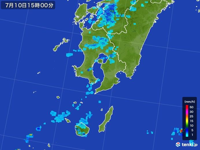 鹿児島県の雨雲レーダー(2017年07月10日)