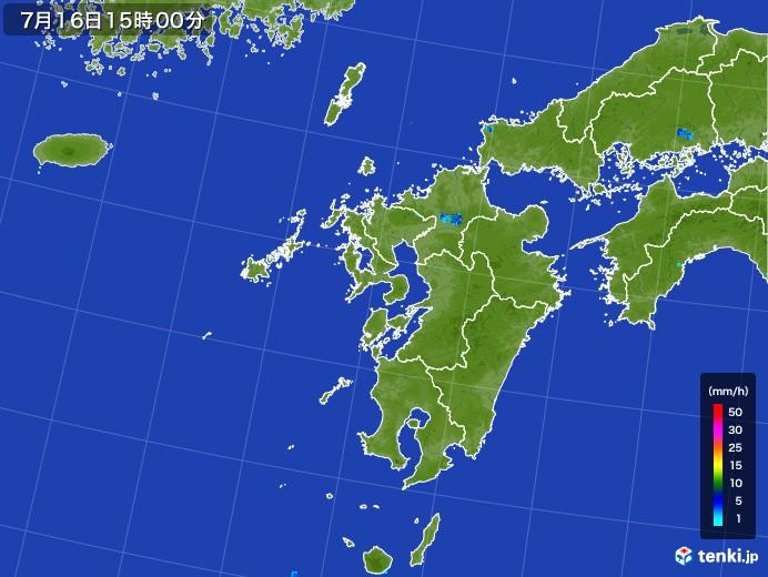 九州地方の雨雲レーダー(2017年07月16日)