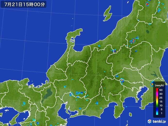 北陸地方の雨雲レーダー(2017年07月21日)