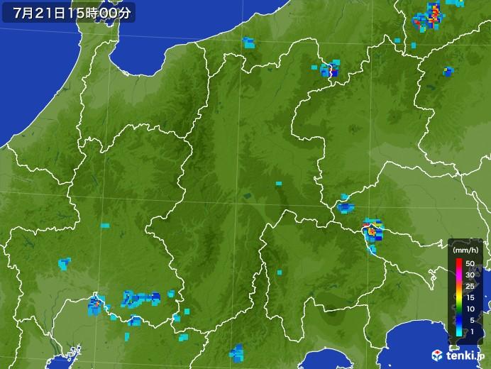 長野県の雨雲レーダー(2017年07月21日)