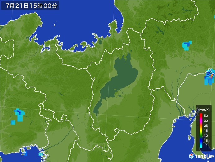 滋賀県の雨雲レーダー(2017年07月21日)