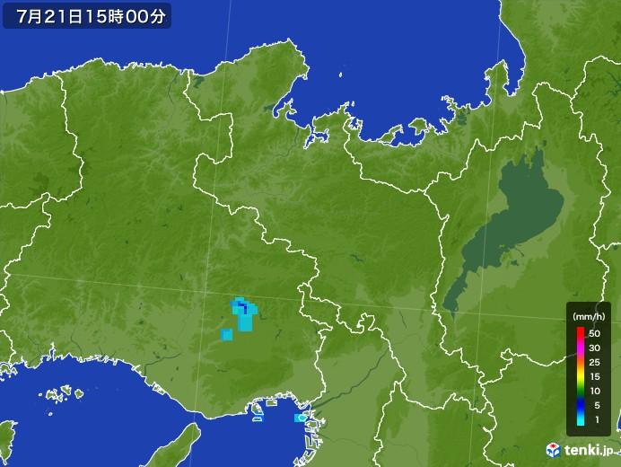 京都府の雨雲レーダー(2017年07月21日)