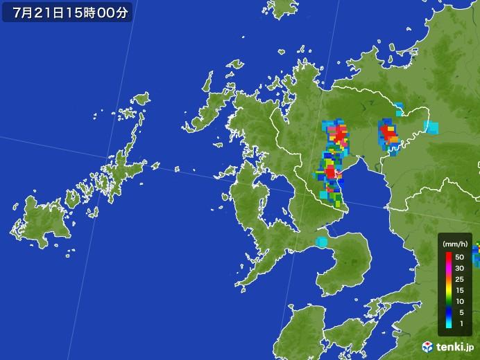 長崎県の雨雲レーダー(2017年07月21日)