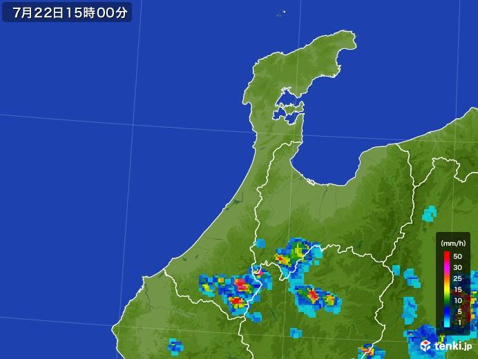 石川県の雨雲レーダー(2017年07月22日)