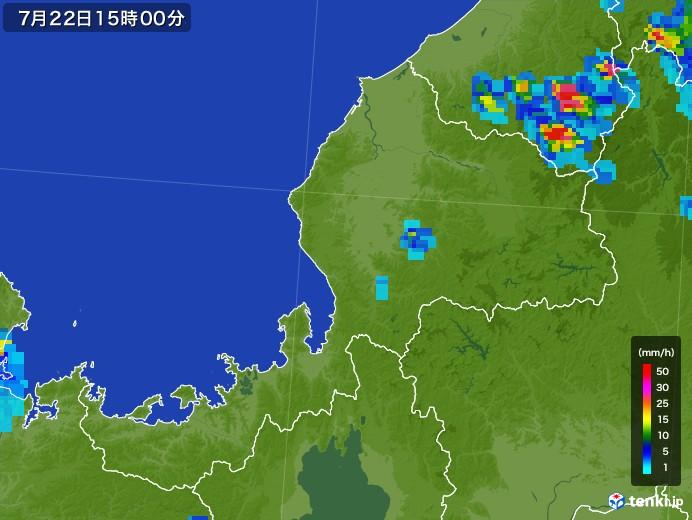 福井県の雨雲レーダー(2017年07月22日)