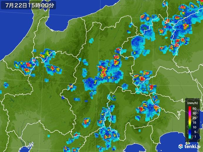 長野県の雨雲レーダー(2017年07月22日)