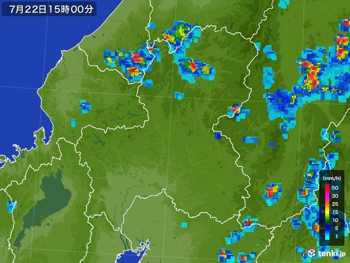 岐阜県の雨雲レーダー(2017年07月22日)