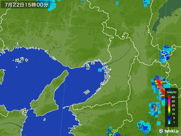大阪府の雨雲レーダー(2017年07月22日)
