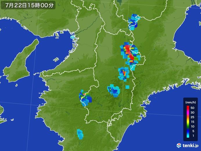 奈良県の雨雲レーダー(2017年07月22日)