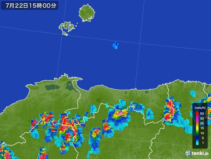 鳥取県の雨雲レーダー(2017年07月22日)
