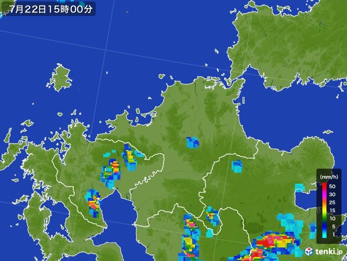 福岡県の雨雲レーダー(2017年07月22日)