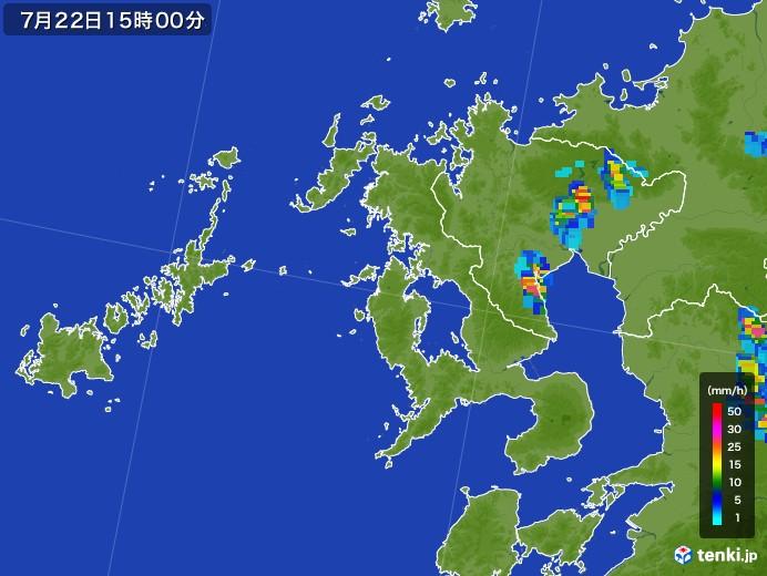 長崎県の雨雲レーダー(2017年07月22日)