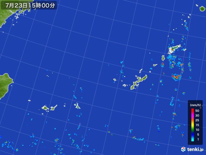 沖縄地方の雨雲レーダー(2017年07月23日)