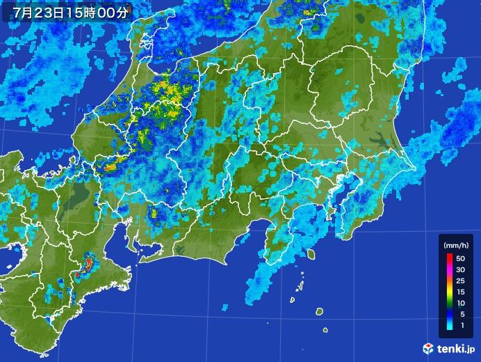 関東・甲信地方の雨雲レーダー(2017年07月23日)