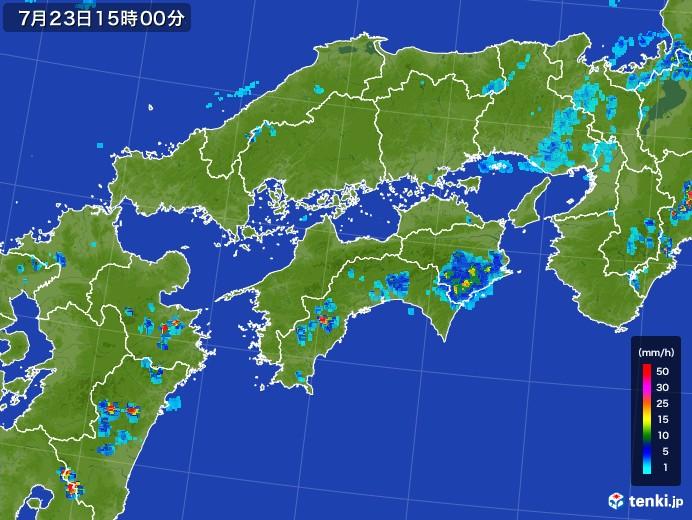 四国地方の雨雲レーダー(2017年07月23日)
