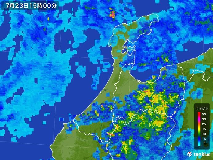 石川県の雨雲レーダー(2017年07月23日)