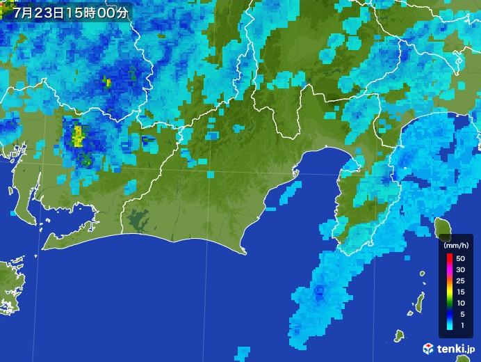 静岡県の雨雲レーダー(2017年07月23日)