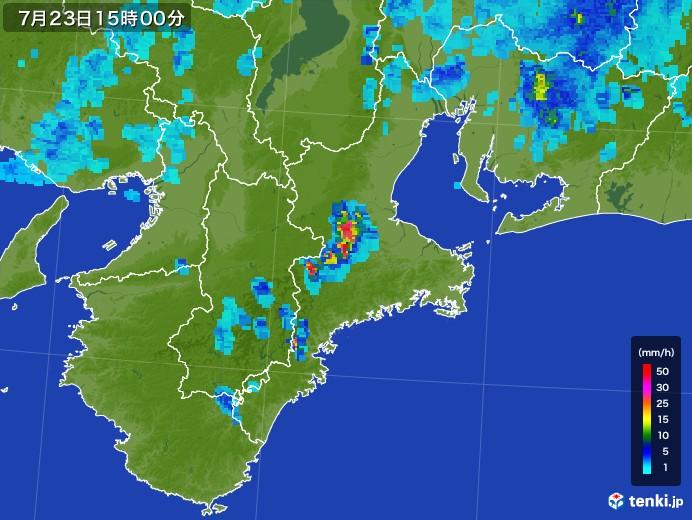 三重県の雨雲レーダー(2017年07月23日)