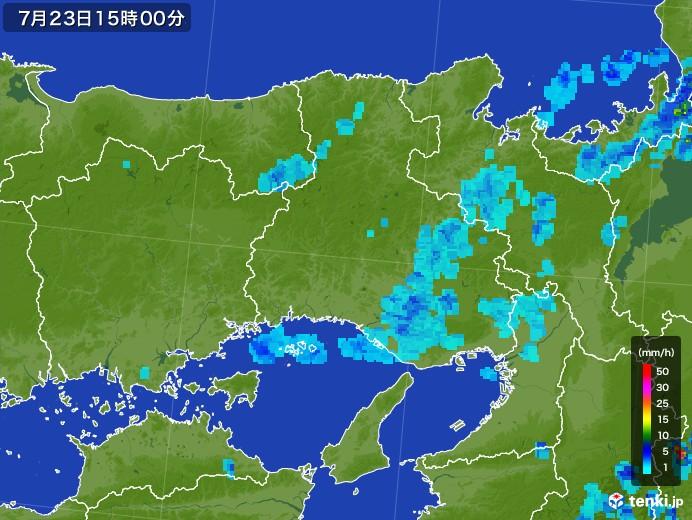 兵庫県の雨雲レーダー(2017年07月23日)