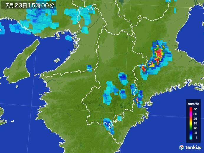 奈良県の雨雲レーダー(2017年07月23日)