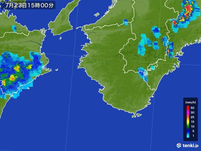 和歌山県の雨雲レーダー(2017年07月23日)