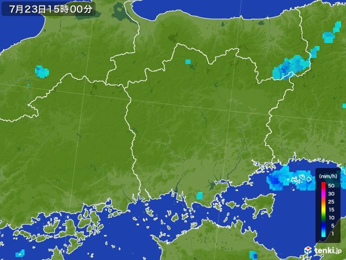 岡山県の雨雲レーダー(2017年07月23日)
