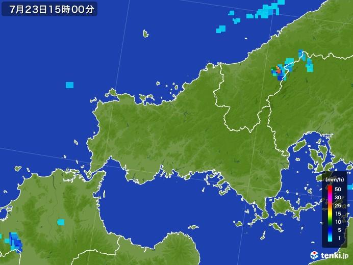 山口県の雨雲レーダー(2017年07月23日)