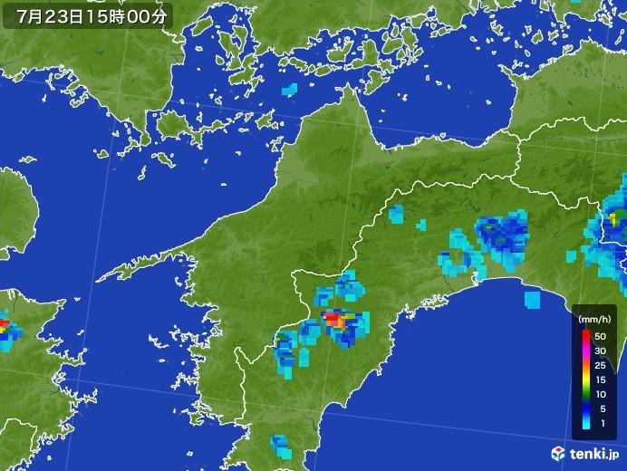 愛媛県の雨雲レーダー(2017年07月23日)