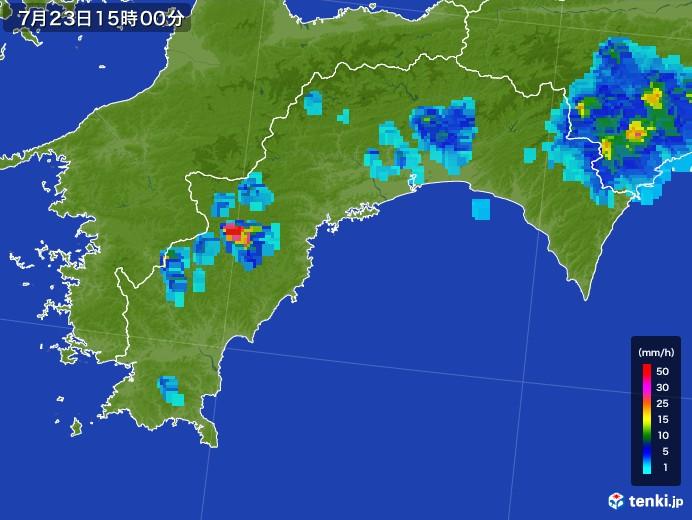 高知県の雨雲レーダー(2017年07月23日)