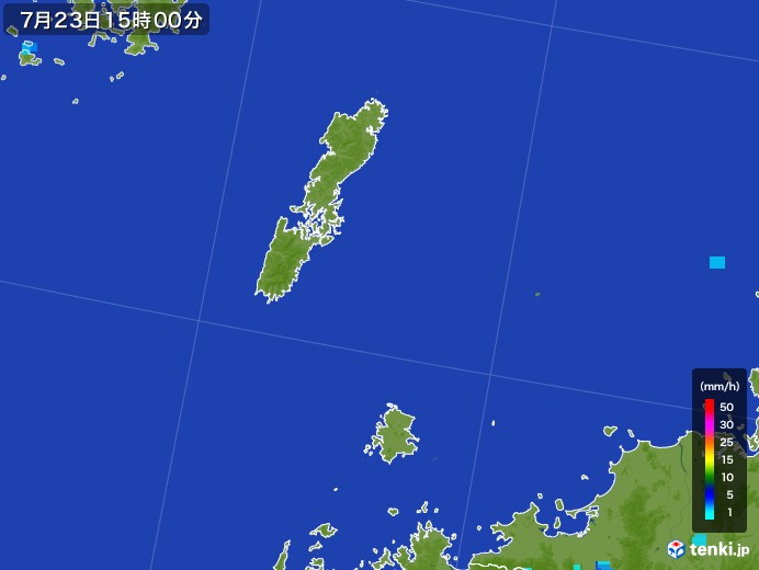 壱岐・対馬(長崎県)の雨雲レーダー(2017年07月23日)