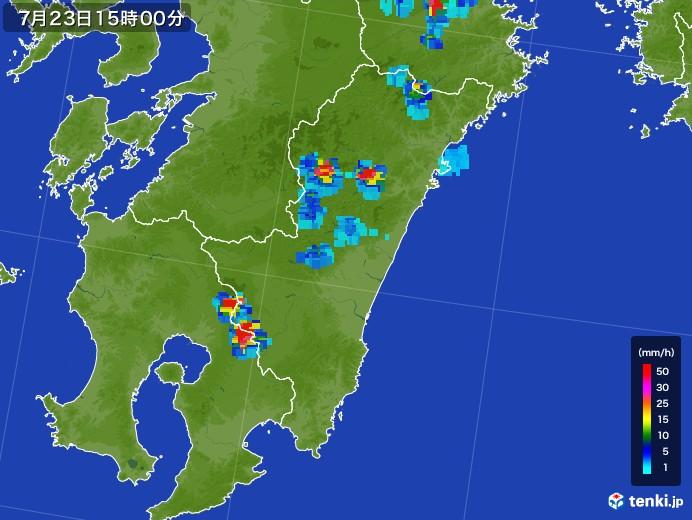 宮崎県の雨雲レーダー(2017年07月23日)