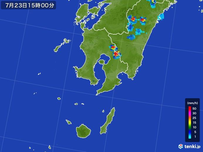 鹿児島県の雨雲レーダー(2017年07月23日)