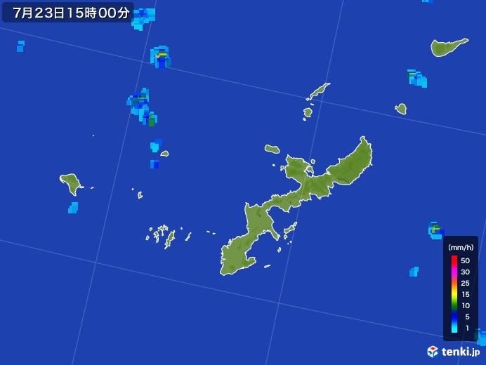 沖縄県の雨雲レーダー(2017年07月23日)