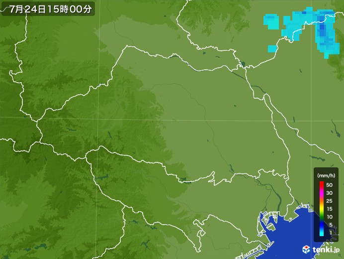 埼玉県の雨雲レーダー(2017年07月24日)