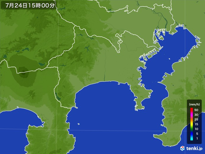 神奈川県の雨雲レーダー(2017年07月24日)
