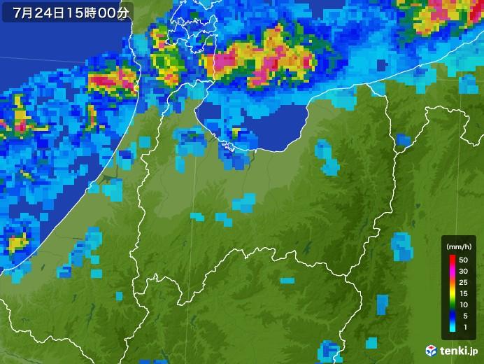 富山県の雨雲レーダー(2017年07月24日)
