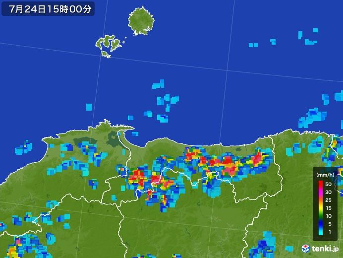 鳥取県の雨雲レーダー(2017年07月24日)