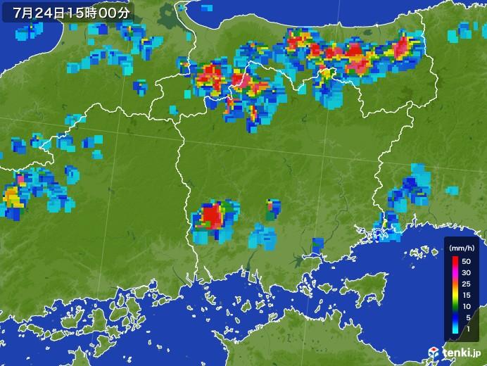 岡山県の雨雲レーダー(2017年07月24日)