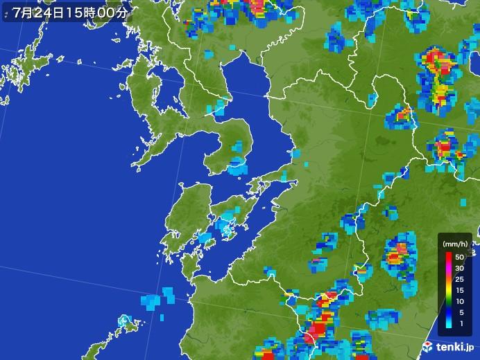 熊本県の雨雲レーダー(2017年07月24日)