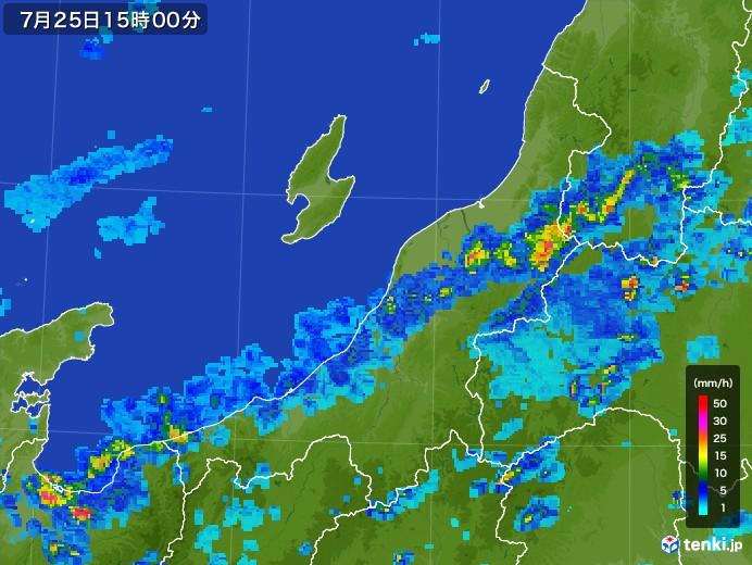 新潟県の雨雲レーダー(2017年07月25日)