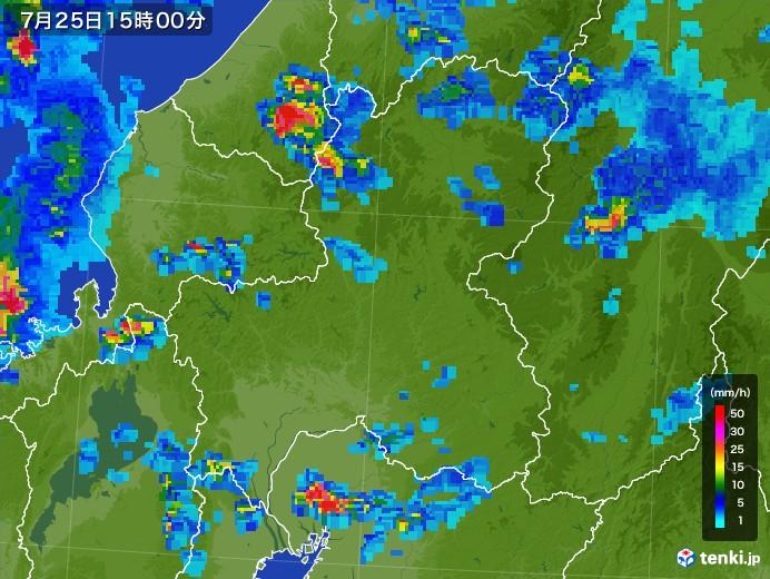 岐阜県の雨雲レーダー(2017年07月25日)
