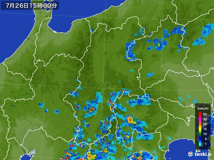 長野県の雨雲レーダー(2017年07月26日)
