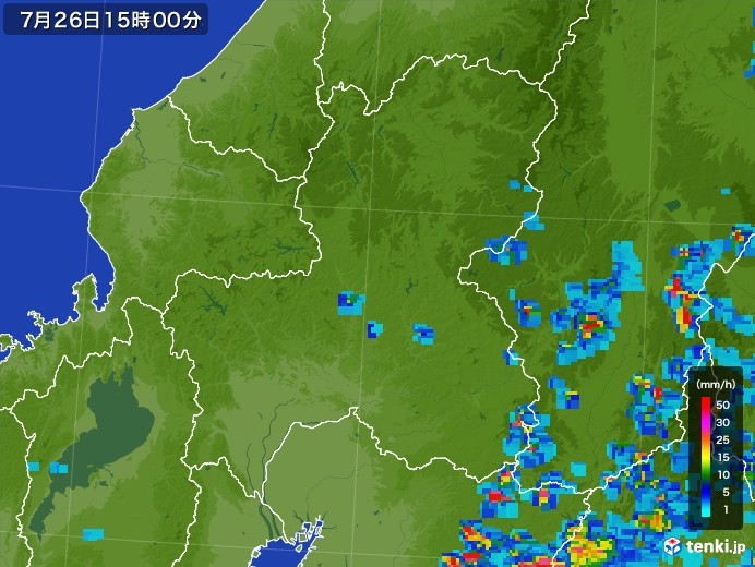 岐阜県の雨雲レーダー(2017年07月26日)