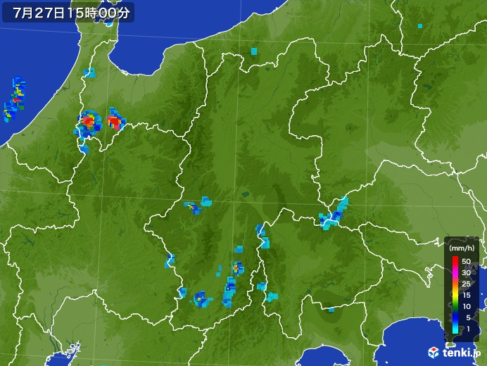 長野県の雨雲レーダー(2017年07月27日)