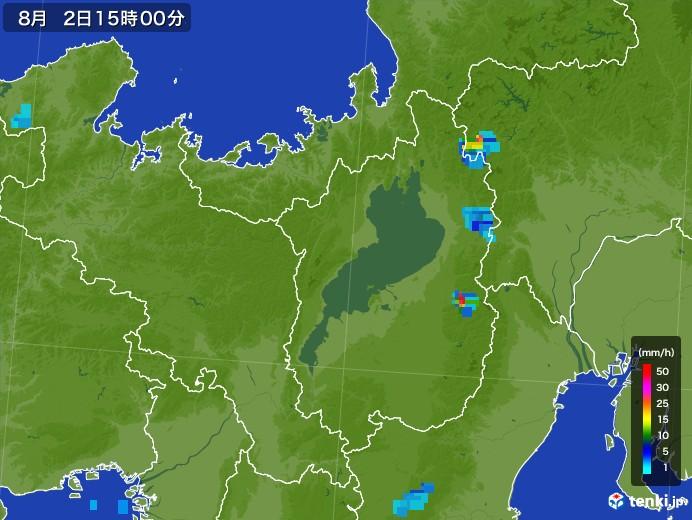 滋賀県の雨雲レーダー(2017年08月02日)