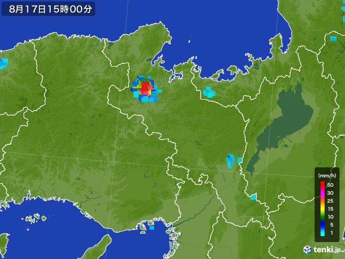 京都府の雨雲の動き(2017年08月17日)