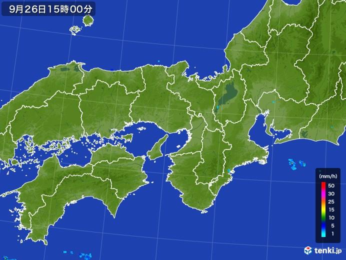 近畿地方の雨雲レーダー(2017年09月26日)