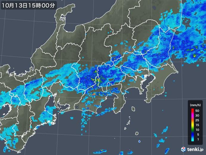 関東・甲信地方の雨雲レーダー(2017年10月13日)