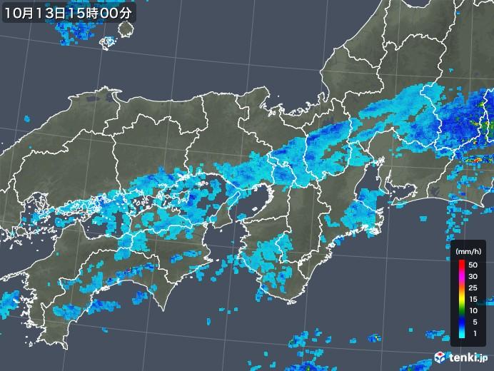 近畿地方の雨雲レーダー(2017年10月13日)